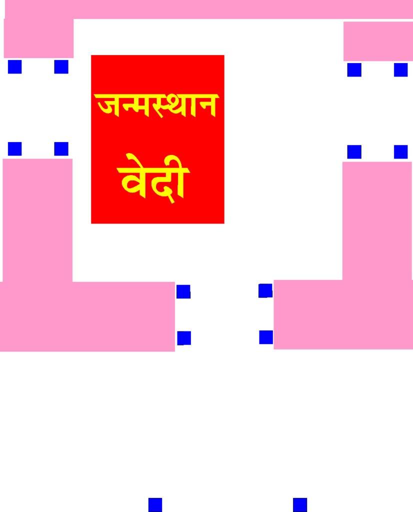 Map of kasauti pillars at Rama Janma Bhumi